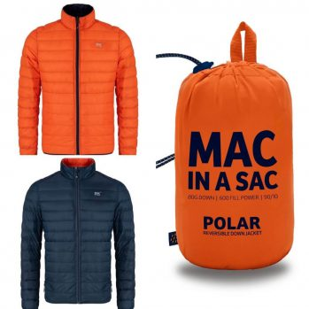 Mens Target Dry Mac in A Sac reversible Down Jacket Navy and Flame