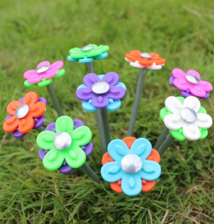 Blue Diamond Daisy Rock Pegs Pack of 20 Flower Tent Pegs Glamping