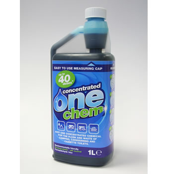 One-Chem Cassette Toilet Fluid 1 Ltr treats Wasts tank & Rinse Tank